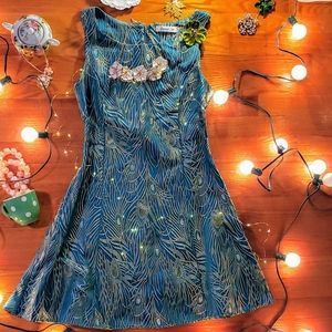 Modcloth peacock embroidery vintage feel dress
